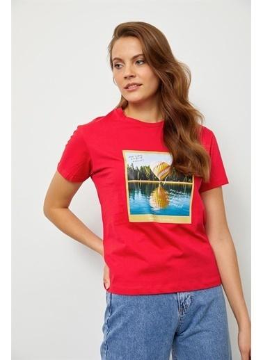 Setre Mint Baskılı Kısa Kol T-Shirt Kırmızı